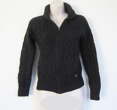 aritzia TNA Chunky Wool Alpaca Collared Zip up Cardigan Sweater in Charcoal Sz -
