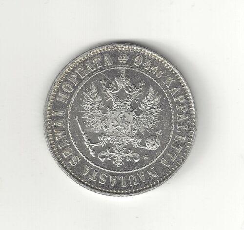 1915 Finland One Markka  Silver  Unc
