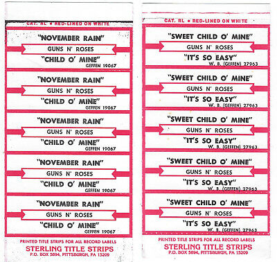 Guns N' Roses Sweet Child O' Mine November Rain 2 Half Sheet Jukebox Title