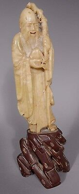 Fine China Chinese Heavy Stone Statue Of Shou Lao Holding Staff Qing Ca  19Th C