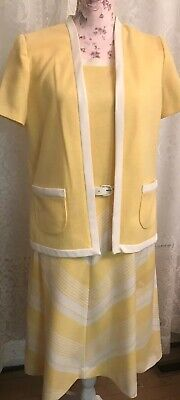 Vintage 1960's Yellow 2Pc Outfit Jacket Dress - 1960s Outfits