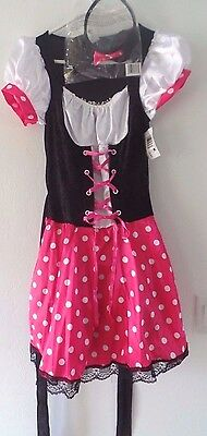 HALLOWEEN COSTUME MISS MOUSE PINK DRESS HEAD PIECE EARS TEENS 1 SIZE NEW NWT @@](Missy Mouse Halloween Costume)