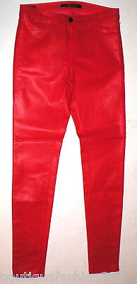New J Brand Jeans Super Skinny Womens Coated Leather Adra True Red Mid Rise 28