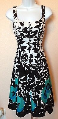 Nine West White W  Black  Blue  Green Florals A Line Sundress Size 4