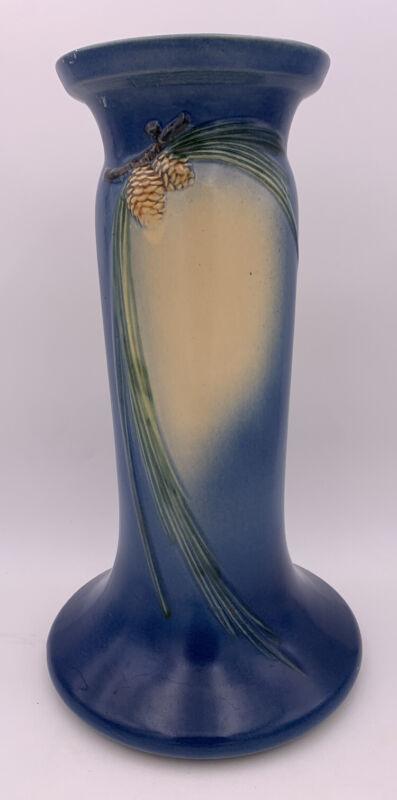 ROSEVILLE POTTERY #405-8 Pinecone Pedestal Blue U.S.A.