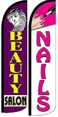 Beauty Salon Nails Windless Standard Size Swooper Flag Sign Banner Pk Of 2