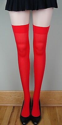 OPAQUE PLAIN TOP School Girl Stockings RED O/S for sale  Warren