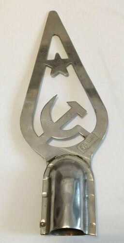 Vintage Soviet Flag Tip Hammer And Sickle Flag Metal Banner Topper Russian USSR