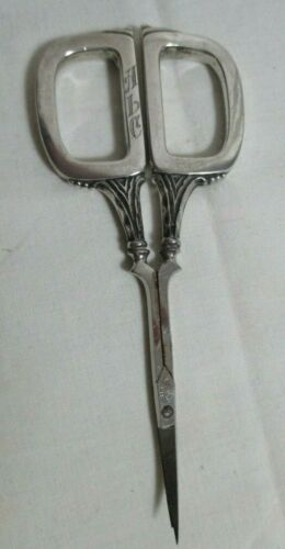 Art Deco Sterling Silver Sewing Embroidery Scissors Bates & Pretzat Germany