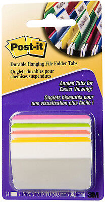 3m Post-it Filing Tabs Angled 2 X 1.5 4 Bright Colors Repositionable 24pc