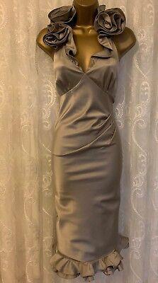 Karen Millen Firma Volante Hombro Lápiz Ajustado Elástico Body Vestido GB 10...