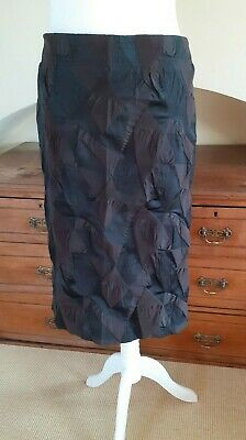 Issey Miyake brown and black geometric pattern pencil skirt, size 3, used