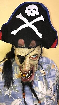 Awesome Pirate Costume (mens ONE SIZE FITS MOST PIRATE HALLOWEEN COSTUME LONG HAIR HAT BEADS)
