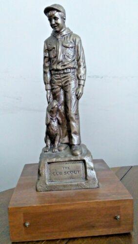 "Vintage 1970s Cub Scout Statue w DOG Boy Scout Statue 12""x 6"" Trophy Award BSA"
