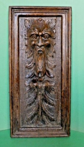 "Carved Oak Panel Wood Furniture Fragment ""Green Man"" England Circa 1890 -1900"