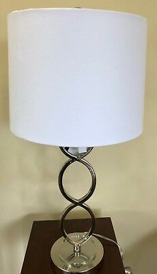 NEW Drexel Heritage Silver Metal Art Deco Desk  Table Lamp White Shade Crystal