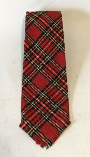 Vintage Virgin Wool Tie Cape Cod Weavers Royal Stewart Scottish Red Plaid