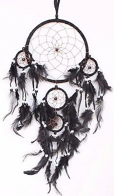 New Black Handmade Dream Catcher With Leather & Feather Home Car Wall Decor