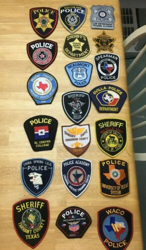 NICE LOT OF 20 TEXAS POLICE  SHOULDER PATCHES  TX03
