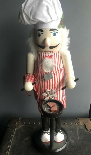 """Rare Detailed Vintage Wooden Christmas Nutcracker BBQ Barbeque Grill Dad 15"""""""