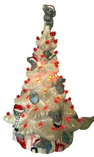 "Vintage1982 Ceramic Christmas Tree Mouse Mold 17"" Hand Painted W/Base & Lights"