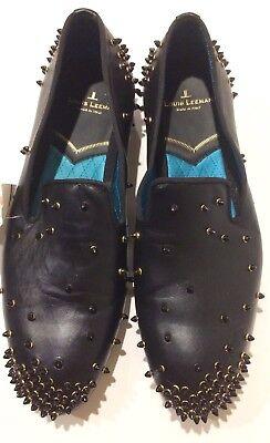 New Louis Leeman $950 Spikes Black Leather Loafers (Size: 40EU/7US)