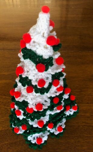 """Vintage Handcrafted Crocheted Christmas Tree Red Green White 16"""""""