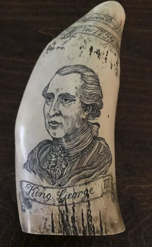 Resin Reproduction Scrimshaw Whale Tooth Britain King George III Navy