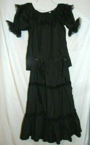 VIntage Black Skirt Shirt Square Dance Set Clogger Western Rockabilly EUC Med