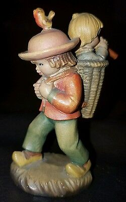 Anri Ferrandiz Boy With Child in Basket Playing Horn Woodcarving 3 1/4""