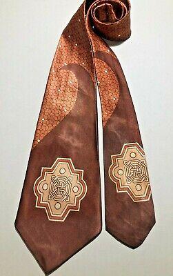 1940s Mens Ties | Wide Ties & Painted Ties VINTAGE 1940'S-50'S WIDE SWING ART DECO MEDALLION DESIGN RAYON TIE NECKTIE  $16.50 AT vintagedancer.com