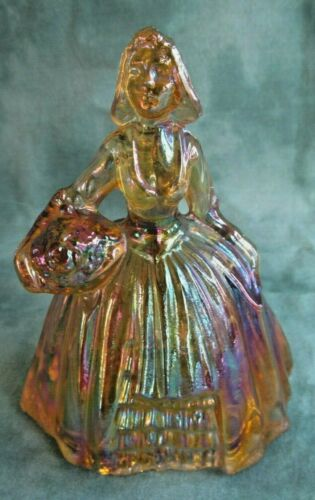Iridescent Carnival Glass Colonial Lady Figurine