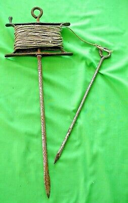 Old vintage  Garden Allotment steel Straight String Line winder & Stake  tool