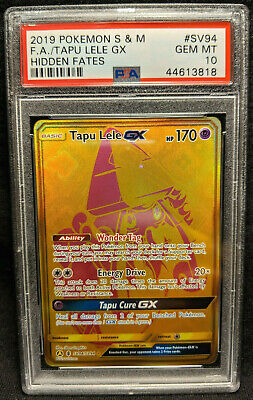 2019 Pokemon S&M Hidden Fates #SV94 Full Art Gold Tapu Lele GX PSA 10 Gem Mint!