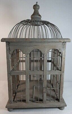 """Vintage Bird Cage Wire and Wood Rustic Paint Decorative 14"""" Tall"""