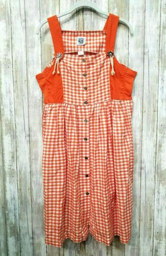 Isar Trachten Size 146 Orange White Check Dirndl Dress