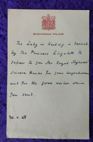 1948 handwritten letter from Princess Elizabeth on the birth of Prince Charles