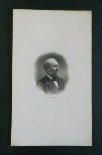 Antique President James A. Garfield Engraving Portrait