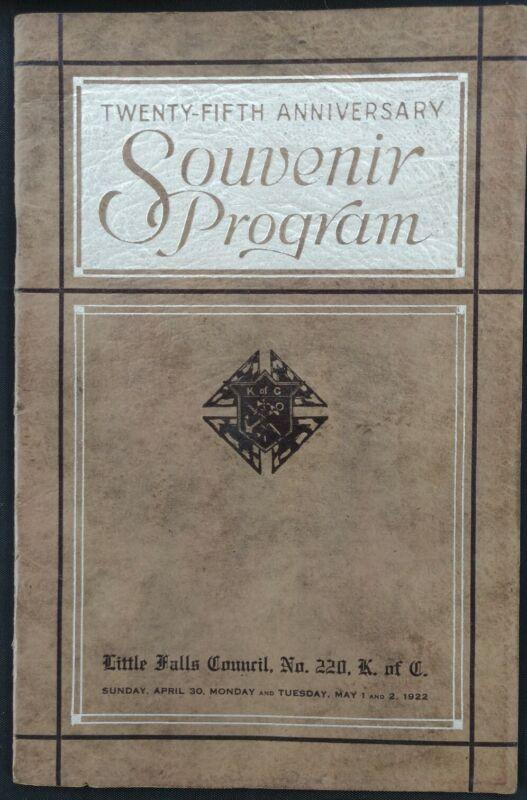 Vtg Knights of Columbus~Little Falls NY~25th Anniversary Souvenir Program~1922