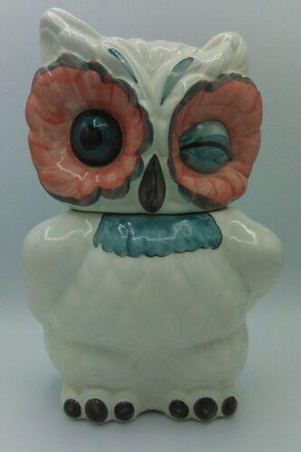 "Anthropologie White OWL Winking Cookie Jar 11"" tall"
