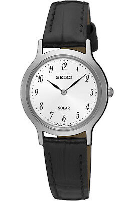 SEIKO SUP369P1,Ladies Solar Quartz,Silver tone,Stainless,Leather Strap,WR,SUP369