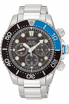 Seiko Men's SSC017 Prospex Solar Chrono Diver 200M Sports Stainless Steel Watch