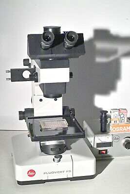 Leitz Research Inverted Microscope Fluovert Fs Phase-add Fluorescence Later