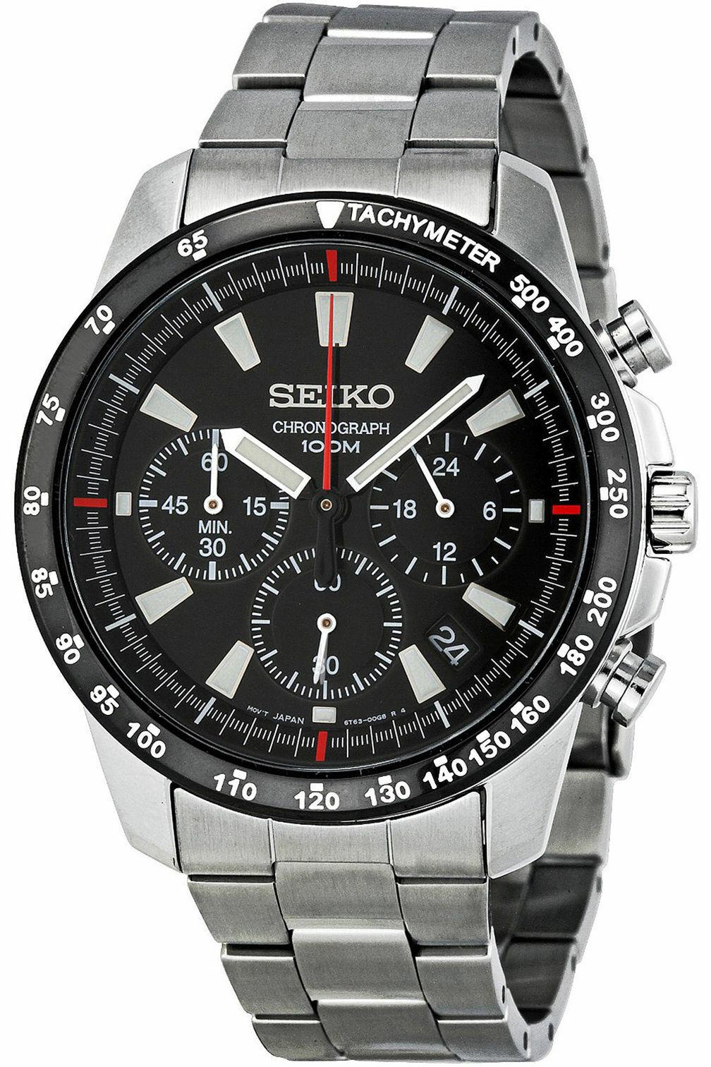 Seiko SSB031 Quartz Chronograph Black Stainless Steel 100m M