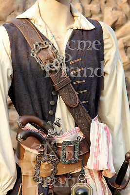 Jack Sparrow Screen Accurate Embossed Leather Baldric Pirate  rougue Renaissance