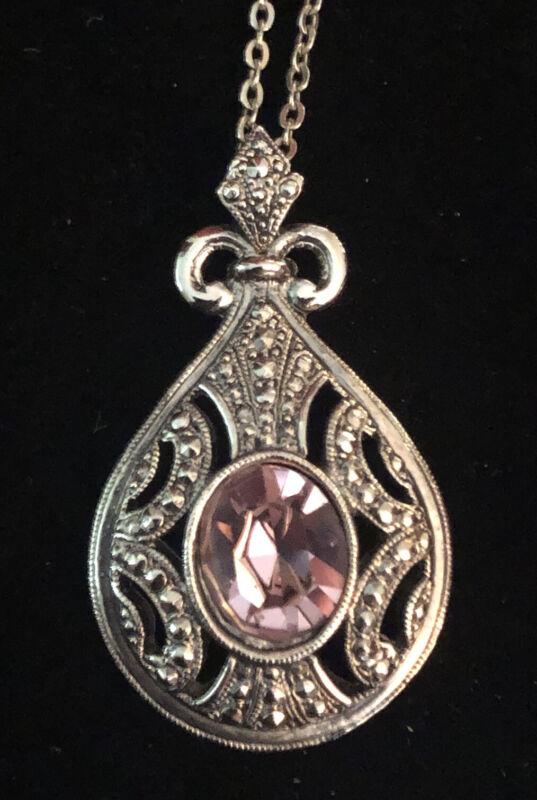 "Vintage NS or SN 28"" silver tone necklace teardrop pendant amethyst color stone"