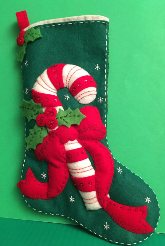 "Finished & Completed Bucilla Christmas Felt Stocking ""Candy Cane"" 15"" #85034"