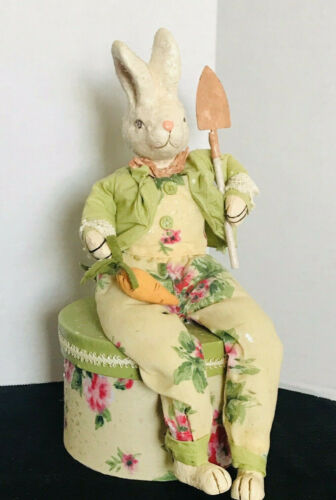 Easter Bunny Papier Mache Vintage Clothed & Seated On Lidded Container Excellent