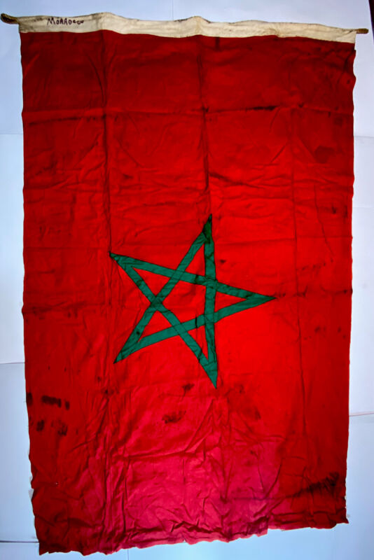 French Morocco Ensign Nautical Flag Red field green Pentacle Vintage WWII 4'x6'