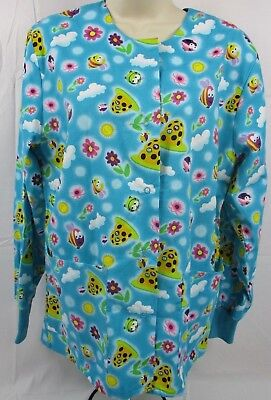 INSECTS on a Women's Colorful Long Sleeved Nurse Scrub Top-X-Small-Brand (Best Medical Scrubs Brands)
